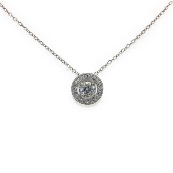 Gioelli Designs Sterling Silver 5mm Round-Cut 1/2 cts. Cubic Zirconia Pendant Necklace