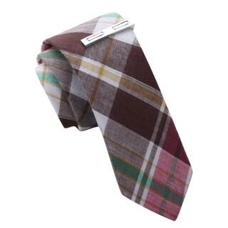 Skinny Tie Madness Mens Madras Style Plaid Skinny Tie with Clip