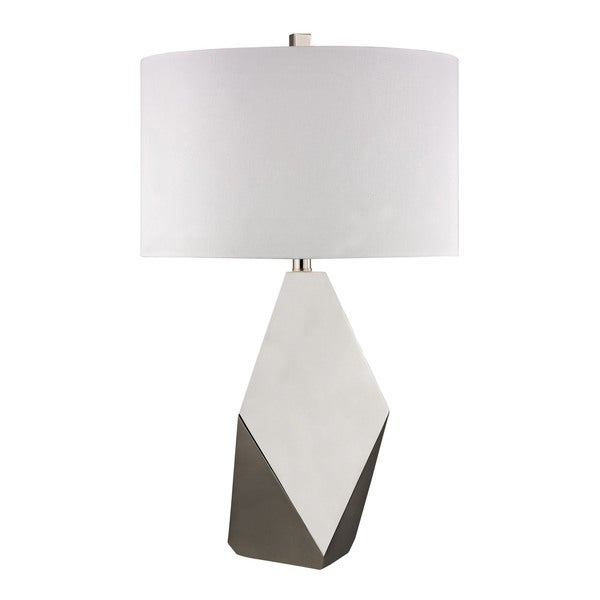Angular 1-light Polished Nickel Table Lamp