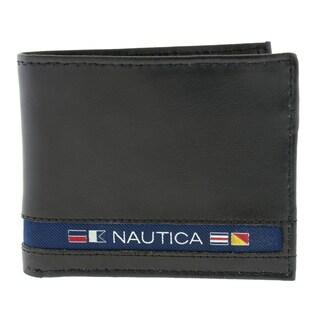 Nautica Men's Bifold Genuine Leather Passcase Wallet