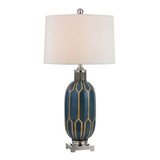Blue and Off White 1-light Glazed Ceramic Table Lamp
