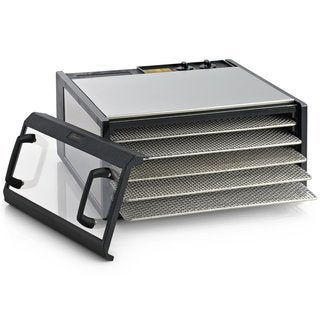 Excalibur Dehydrator 5-Tray Clear Door Stainless Steel with Stainless Steel Trays