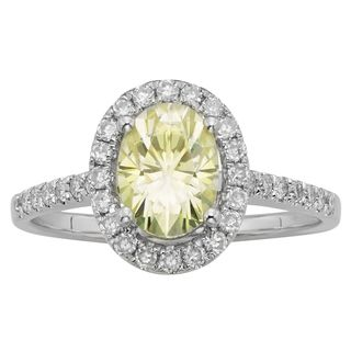 Charles & Colvard Sterling Silver 1.84 TGW Oval Classic Moissanite Solitaire Fashion Ring