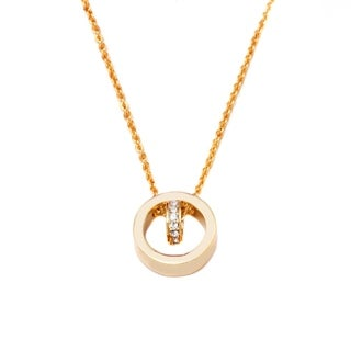 18k Goldplated Gold and White Swarovski Elements Double Ring Pendant Necklace