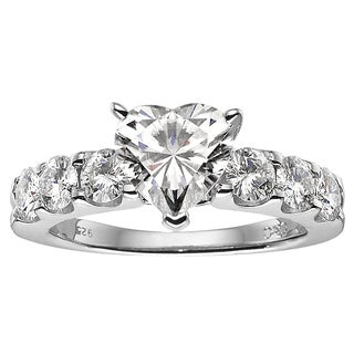 Charles & Colvard Sterling Silver 2.46 TGW Heart Classic Moissanite Solitaire Ring with Sidestones