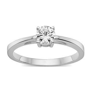 Charles & Colvard Created Moissanite Sterling Silver 1/2ct TGW Classic Moissanite Round Solitaire Engagement Ring