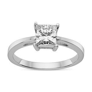 Charles & Colvard Sterling Silver 1.00 TGW Square Brilliant Classic Moissanite Solitaire Ring