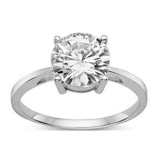 Charles & Colvard Created Moissanite Sterling Silver 2 1/5ct TGW Classic Moissanite Round Solitaire Engagement Ring