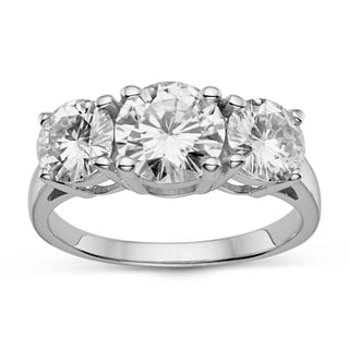 Charles & Colvard Sterling Silver 3.10 TGW Round Classic Moissanite 3-Stone Ring