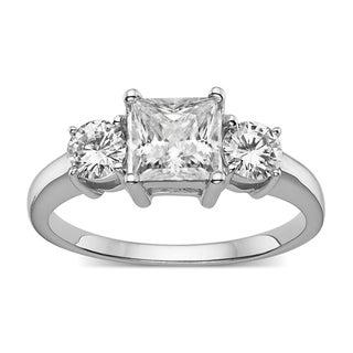Charles & Colvard Sterling Silver 1.36 TGW Princess Cut Classic Moissanite 3-Stone Ring