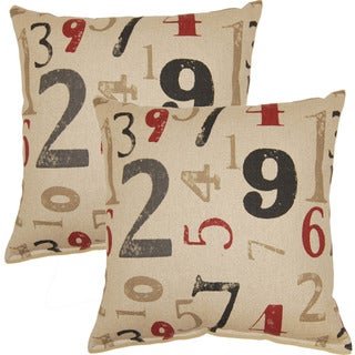 Numerology Charcoal 17-inch Throw Pillow (Set of 2)