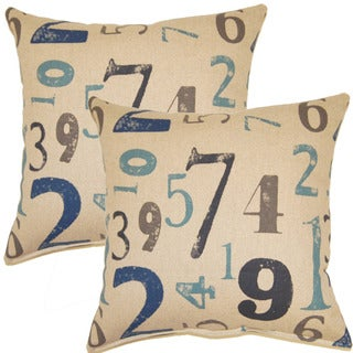Numerology Indigo 17-inch Throw Pillow (Set of 2)