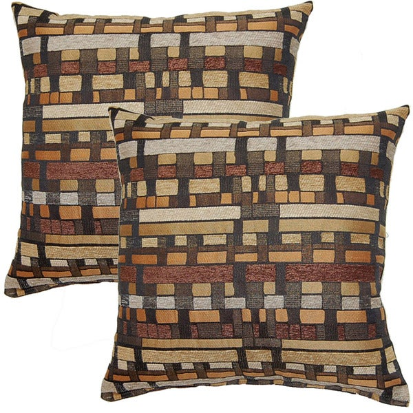 Chubby Checker Brown 17-inch Throw Pillow (Set of 2)