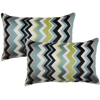 Chevron Aquamarine Decorative Throw Pillow (Set of 2)