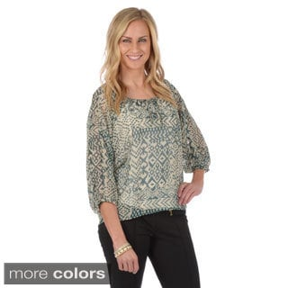 Journee Collection Women's Printed Bohemian Chiffon Top