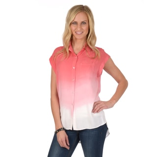 Journee Collection Women's Short-sleeve Button-up Ombre Top