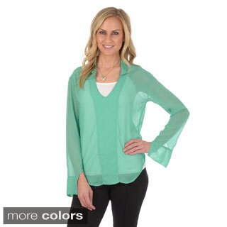 Journee Collection Women's Long Sleeve V-neck Chiffon Blouse