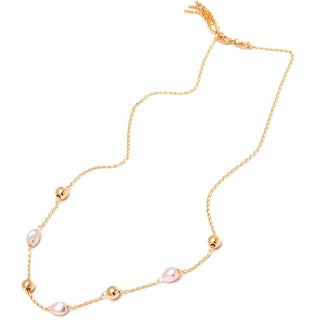 18k Goldplated Pink Pearl and Gold Beads Gold Chain Necklace