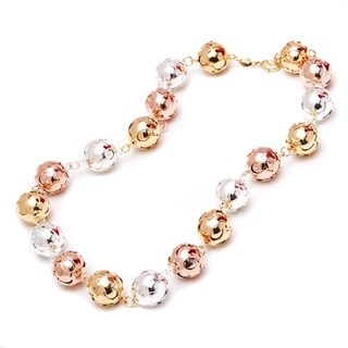 18k Goldplated Gold Rose Gold and Silver Ball Link Necklace