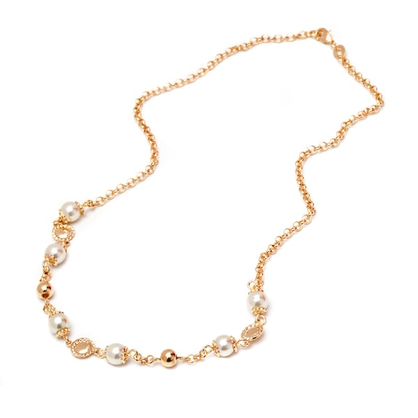 18k Goldplated Gold and Pearl Ball Bead Graduated Necklace