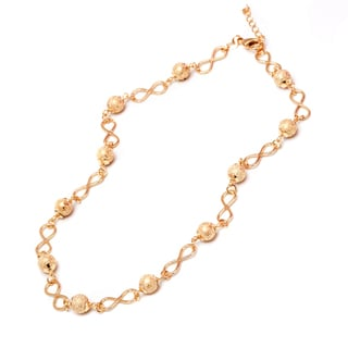 18k Goldplated Gold Diamond-Crushed Ball and Infinity Link Chain Necklace