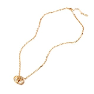 18k Goldplated Gold and White Swarovski Elements Twin Heart Necklace