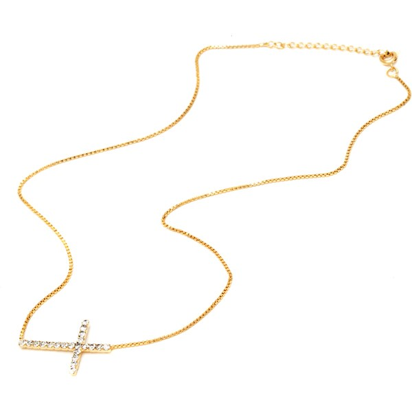 18k Goldplated Gold and Clear Crystal Lateral Cross Pendant Necklace