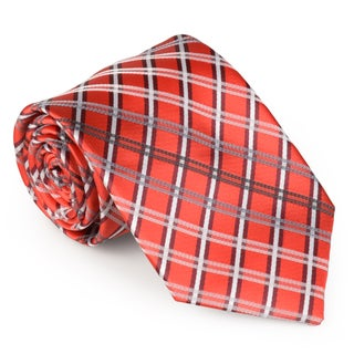 Vance Co. Men's Microfiber Grid Handmade Tie and Hanky Set