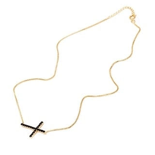 18k Goldplated Gold and Black Onyx Crystal Lateral Cross Pendant Necklace