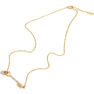 18k Goldplated Gold and Swarovski Elements Heart and Key Charm Necklace