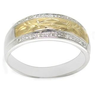 De Buman 14K Two-tone Gold 1/6ct TDW Diamond Men's Band Ring (H-I, I1-I2)
