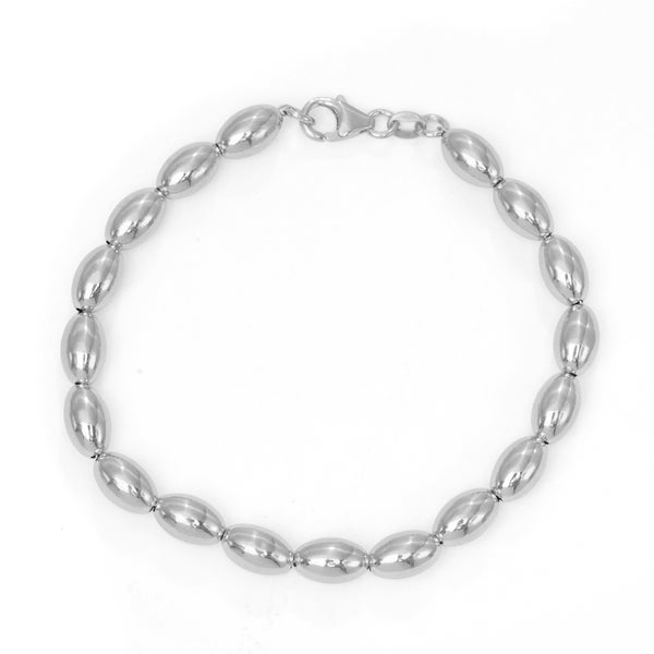 Sterling Silver Oval Beaded Bracelet