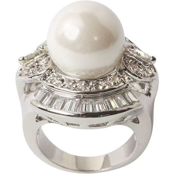 Nexte Jewelry Large Faux Pearl Cocktail Ring with White Round and Baguette Accent Stones