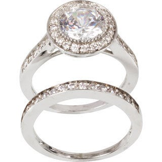 Nexte Jewelry Silvertone Clear Cubic Zirconia Bridal-inspired Ring Set