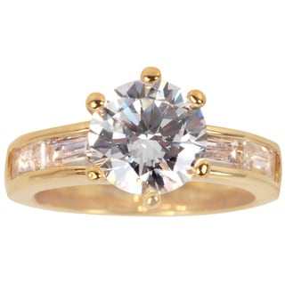 Nexte Jewelry Goldtone White Round Solitaire with Baguette Accent Stones
