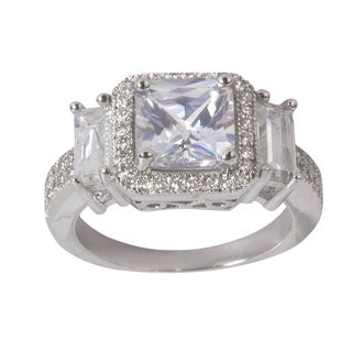 Nexte Jewelry Silvertone Princess-cut Center Stone with Round and Baguette Accent Stones