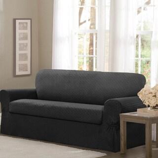 """Maytex Conrad Stretch Fabric 2-piece Sofa Slipcover - 74-96"""" wide/34"""" high/38"""" deep"""