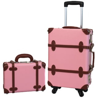 World Traveler Pink/Brown 2-piece Vintage Trunk Carry On Spinner Upright Luggage Set
