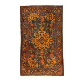 Herat Oriental Afghan Hand-knotted Semi-antique Tribal Balouchi Black/ Red Wool Rug (3'8 x 6'1)