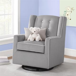 Baby Relax Emmett Button Tufted Graphite Grey Swivel Glider