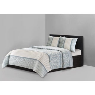 N Natori Fretwork Aqua Cotton 3-piece Duvet Cover Set