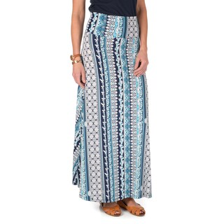 Journee Collection Women's Printed Fold-over Maxi Skirt