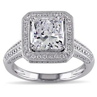 Miadora 18k White Gold Sapphire, Tourmaline and 2 3/4ct TDW Radiant Cut Certified Diamond Ring (E, SI2) (GIA)