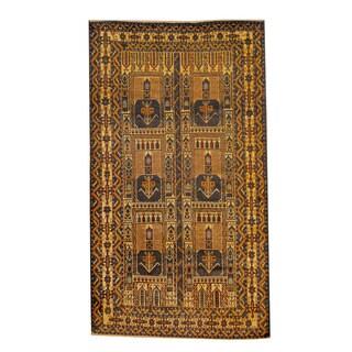 Herat Oriental Afghan Hand-knotted Semi-antique Tribal Balouchi Black/ Navy Wool Rug (3'8 x 6'6)