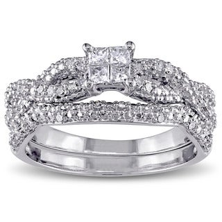 Miadora Sterling Silver 2/5ct TDW Princess Diamond Bridal Ring Set (G-H, I2-I3)