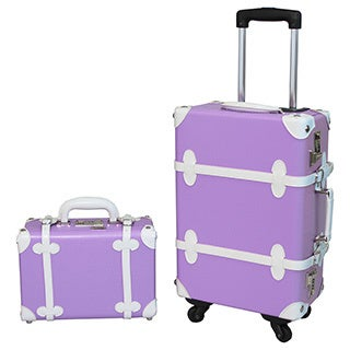 World Traveler Purple 2-piece Vintage Trunk Carry On Spinner Upright Luggage Set