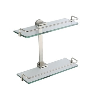 Fresca Two Tier Bathroom Glass and Brushed Nickel Shelf