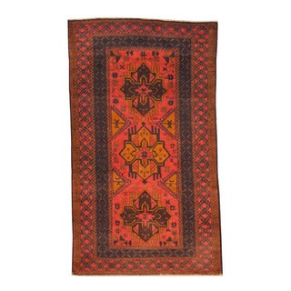 Herat Oriental Afghan Hand-knotted Semi-antique Tribal Balouchi Red/ Black Wool Rug (3'7 x 6'3)