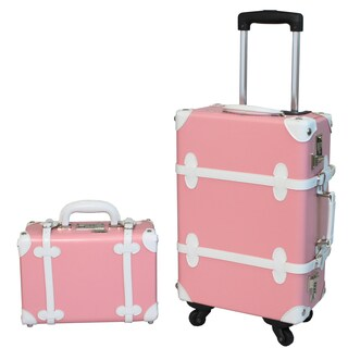 World Traveler Pink/ White 2-piece Vintage Trunk Carry-on Spinner Upright Luggage Set