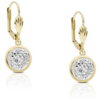 Finesque Gold Overlay Diamond Accent Leverback Dangle Earrings (I-J, I2-I3)